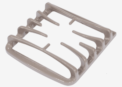Cast iron stove grate - gloss taupe porcelain finish